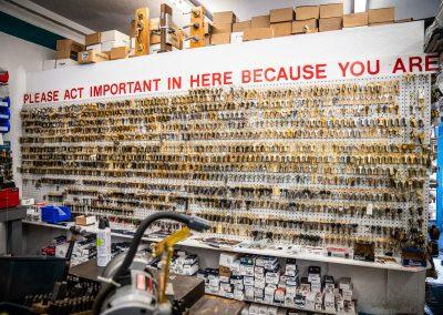 Wall Full of Keys and Hardware in the Harry's Locksmith Warehouse
